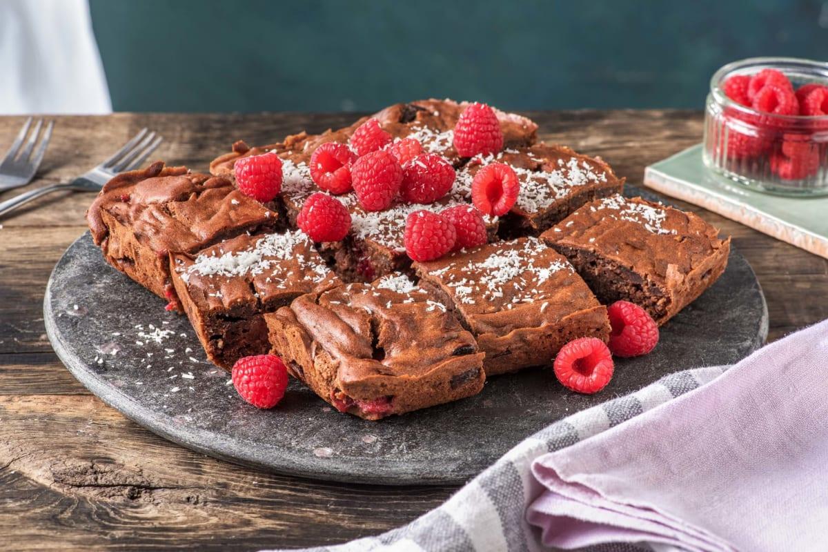 Brownies met frambozen en kokos