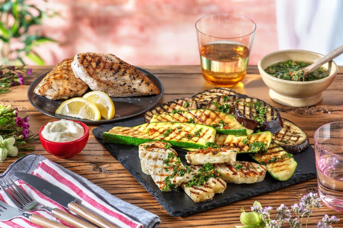 Mediterranes Grillpaket mit Hähnchenbrust