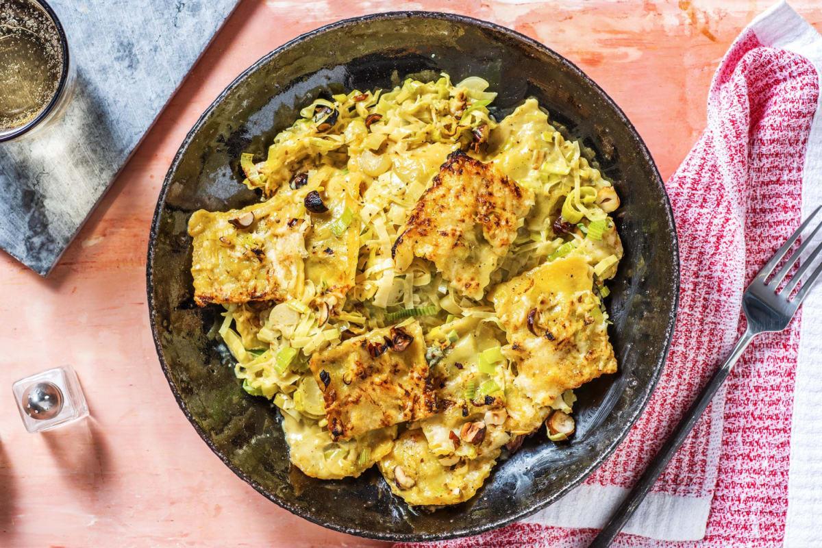 Romige ovenschotel van ravioli met vadouvan