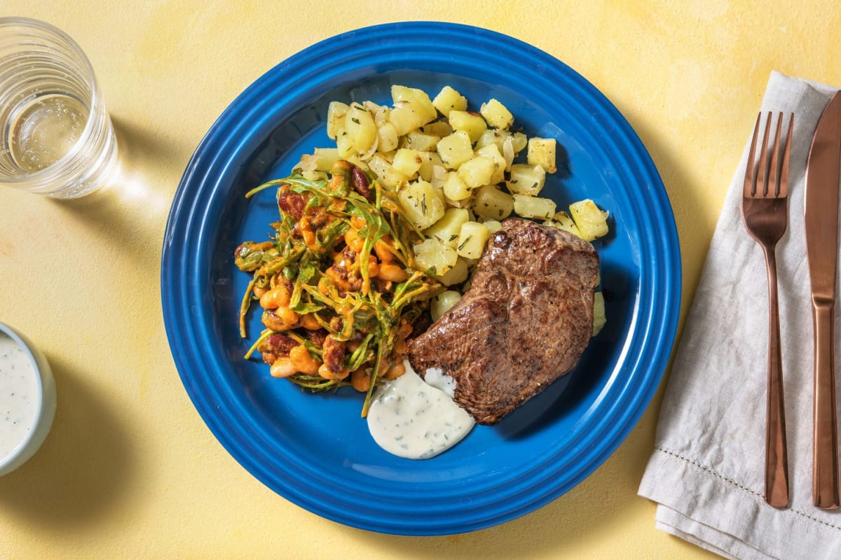 Rindersteak mit scharfem Bohnensalat