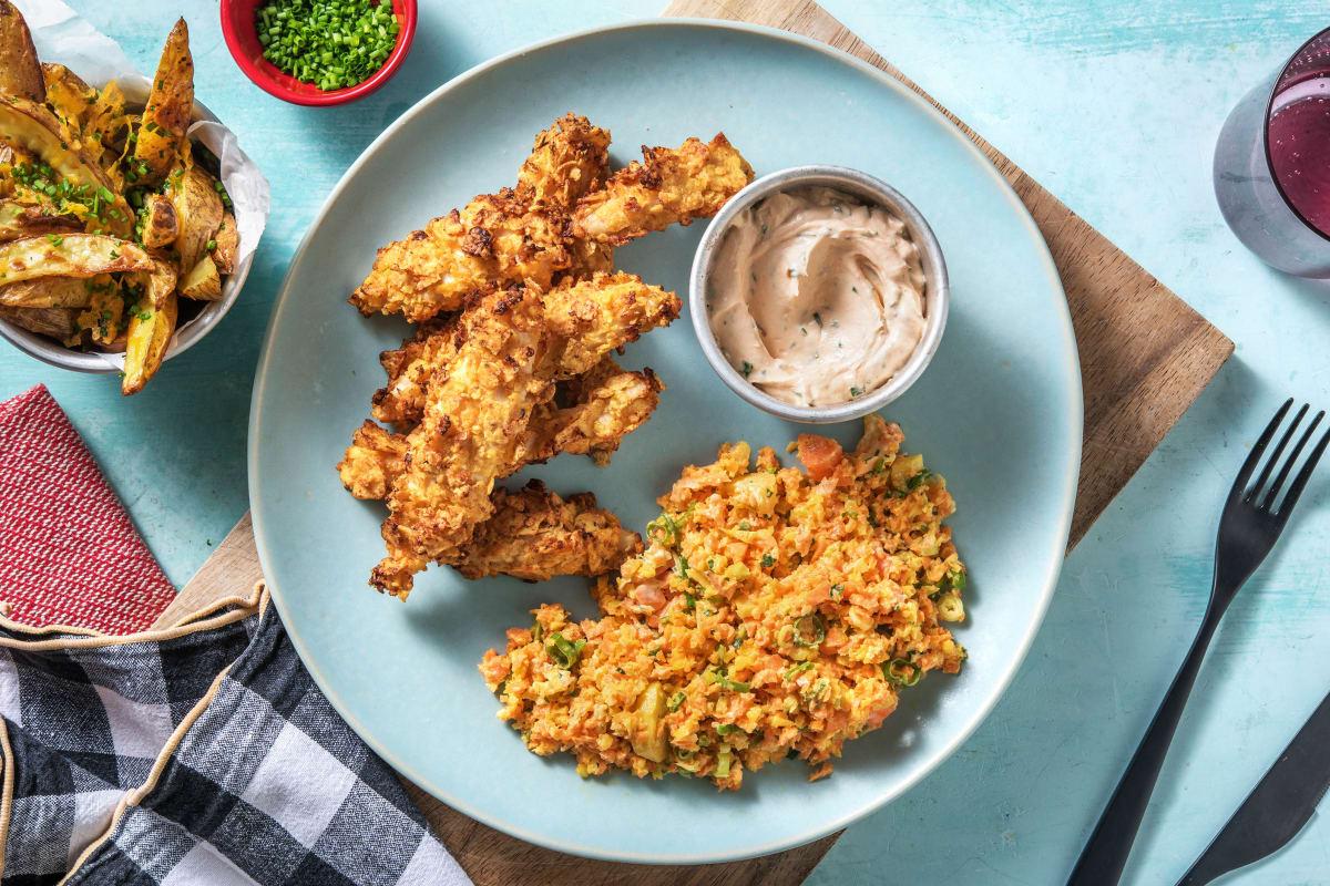 Knusprige Hähnchenstreifen mit Karottensalat