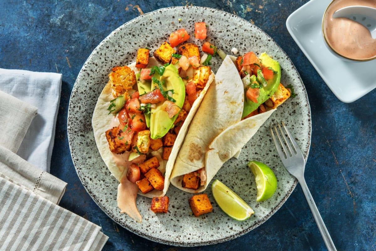 Rauchige Süsskartoffel-Hirtenkäse-Tacos