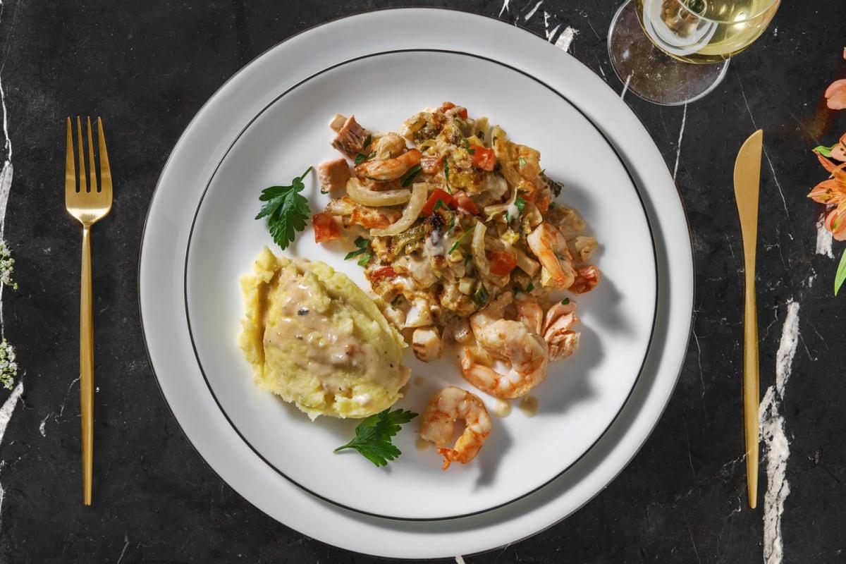 Gratin de poissons : cabillaud, lieu noir, saumon et crevettes