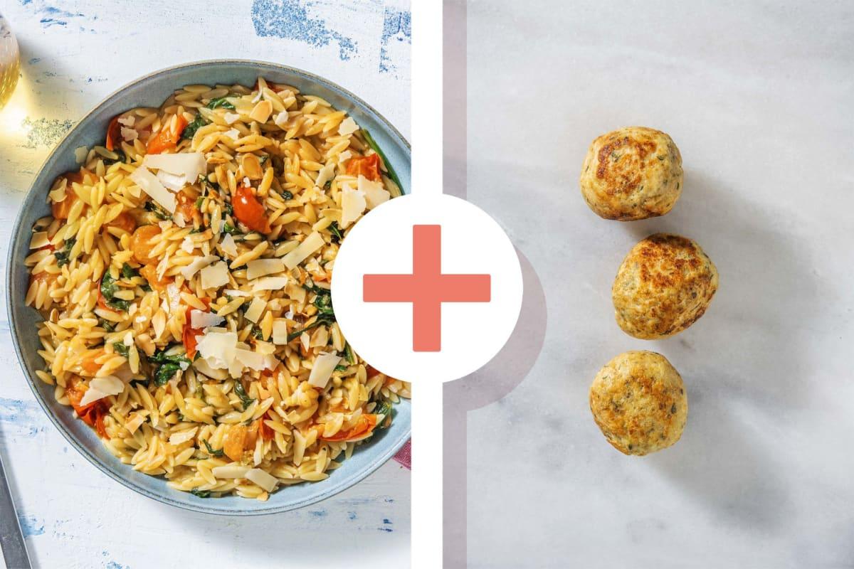 Orzo met spinazie en kipgehaktballetjes als extra