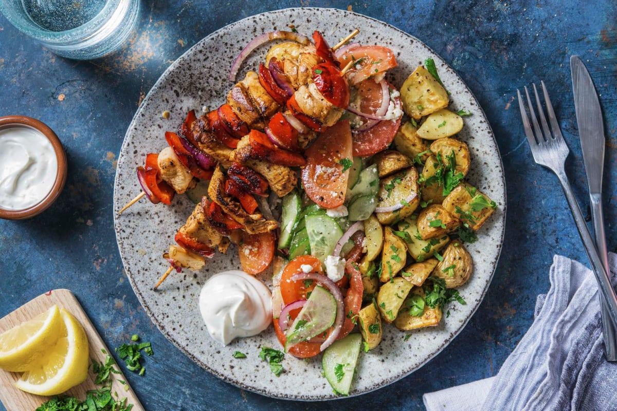 Hähnchenspieße mit Souflaki-Kartoffeln