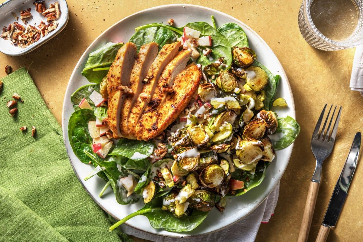 Piri-Piri-Hähnchen auf Rosenkohl-Apfel-Salat