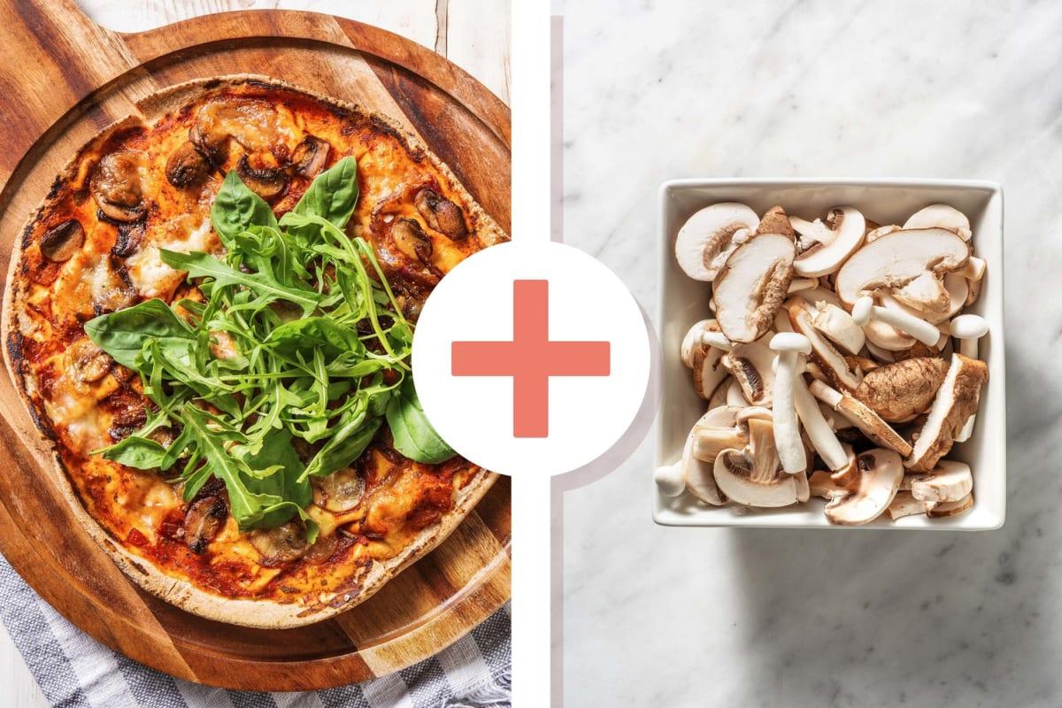 Platbroodpizza funghi met extra paddenstoelen