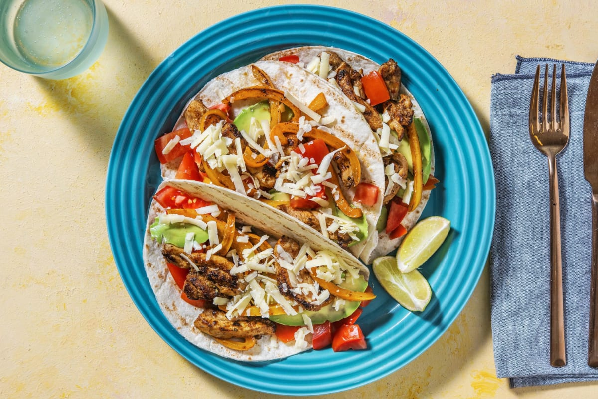 Fajitas au poulet sur mini-tortillas