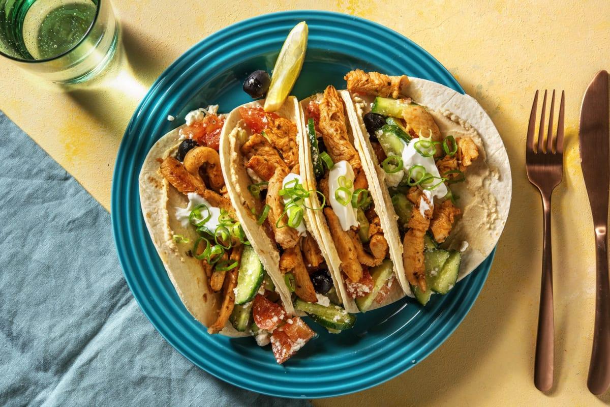 Griechische Tacos mit Souvlaki-Hähnchen