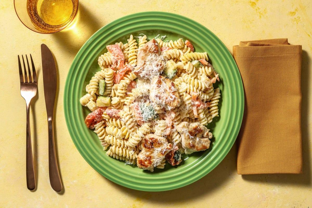 Kalkoenmedaillons met romige pasta
