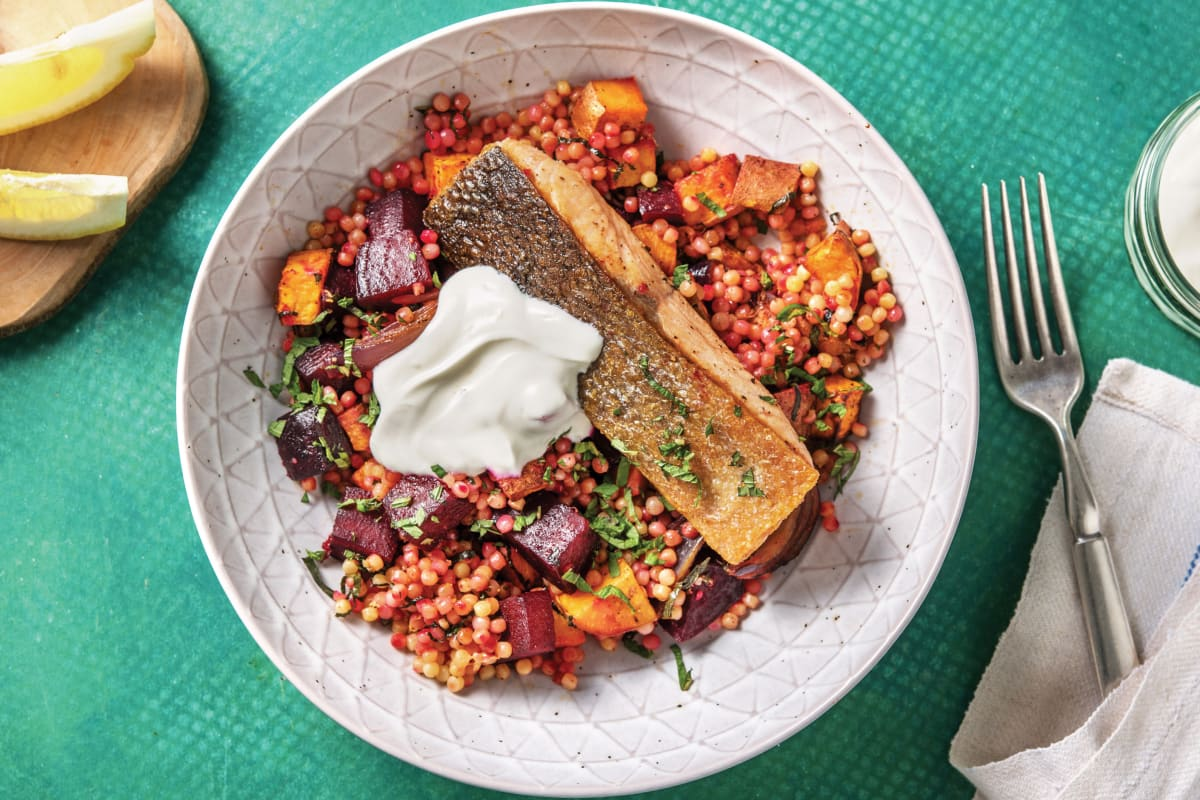 Seared Salmon Pearl Couscous Recipe Hellofresh