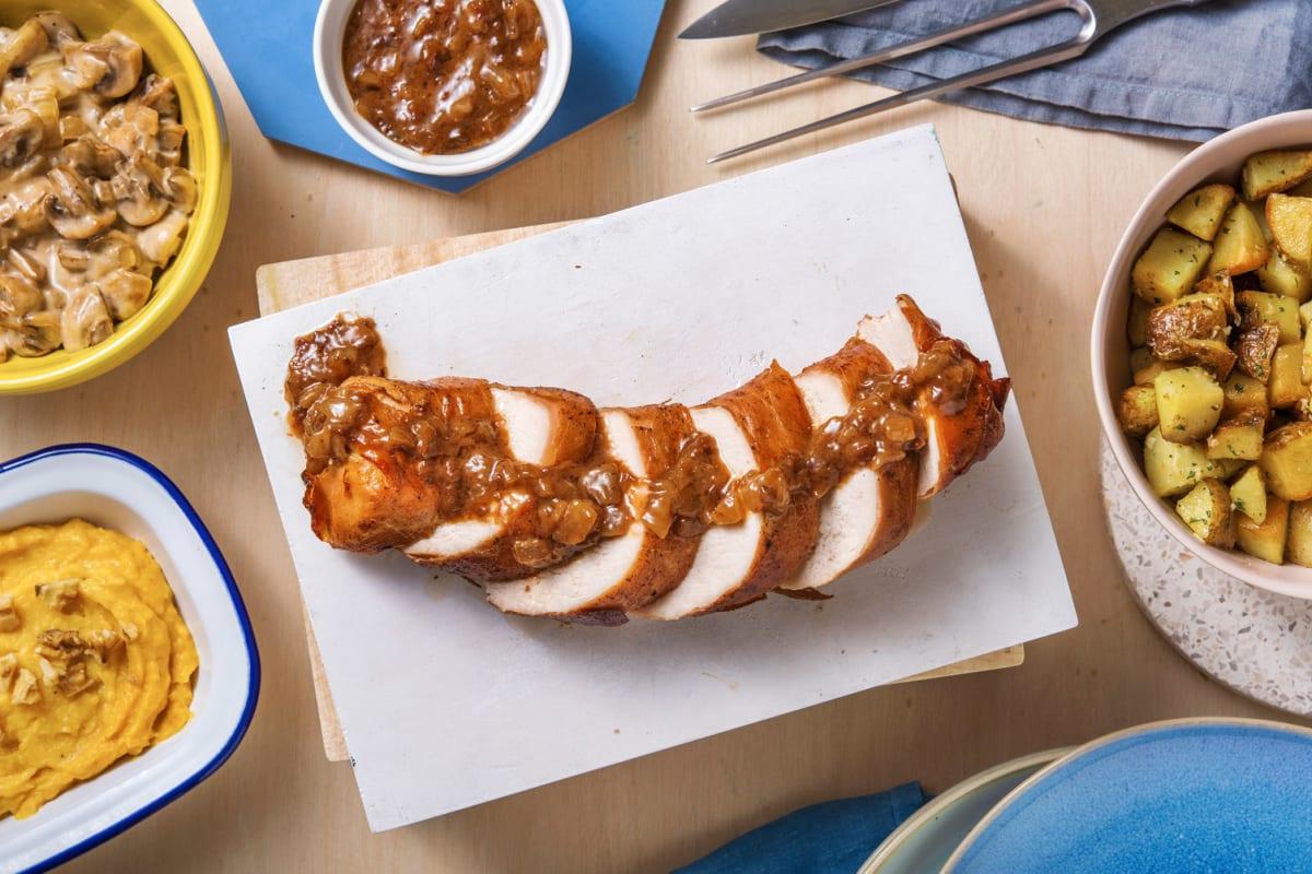 Roulade de dinde au jambon serrano, sauce canneberges-balsamique