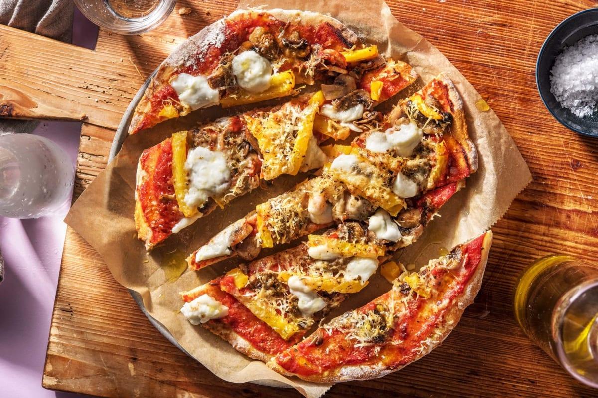 Pizza sur pain plat aux champignons