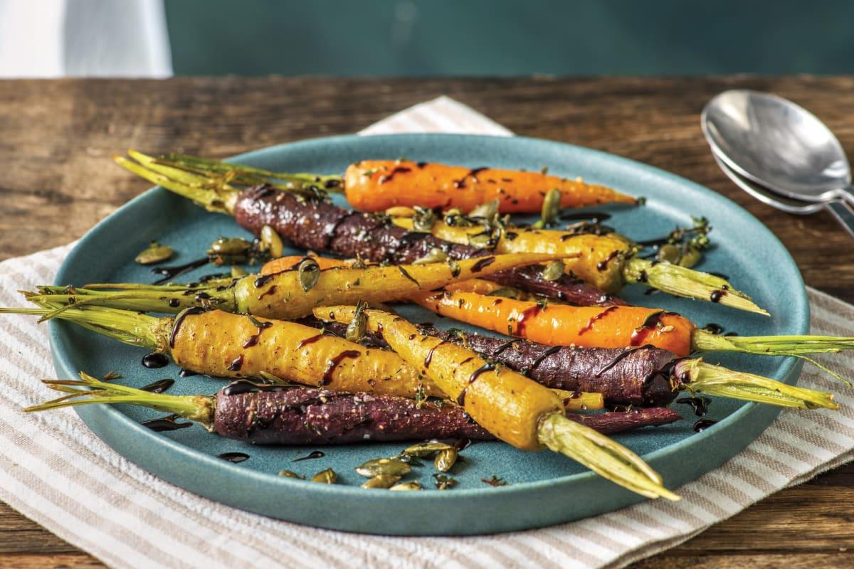 Balsamic Glazed Baby Rainbow Carrots