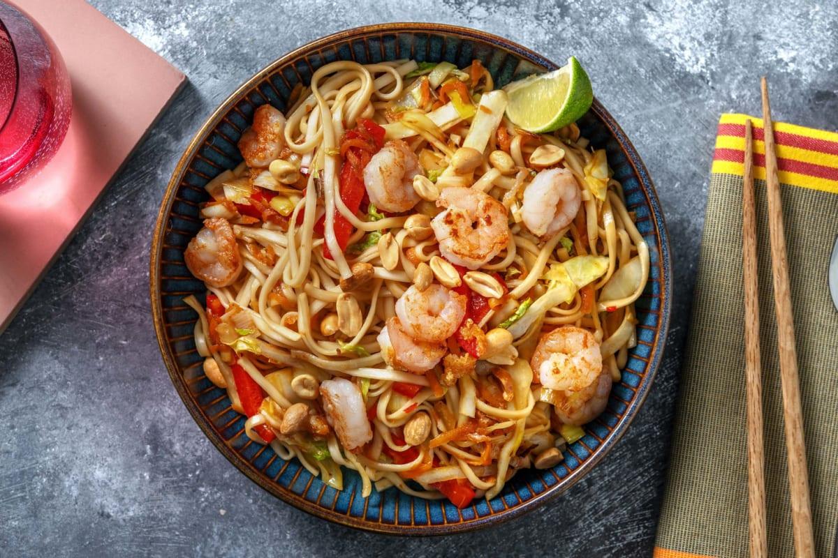 Crevettes à l'ail au wok et cacahuètes