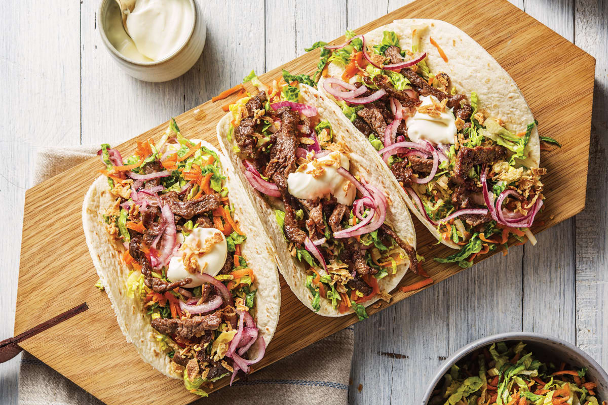 Honey-Soy Beef Tacos with Speedy Pickled Onion & Crushed Peanuts