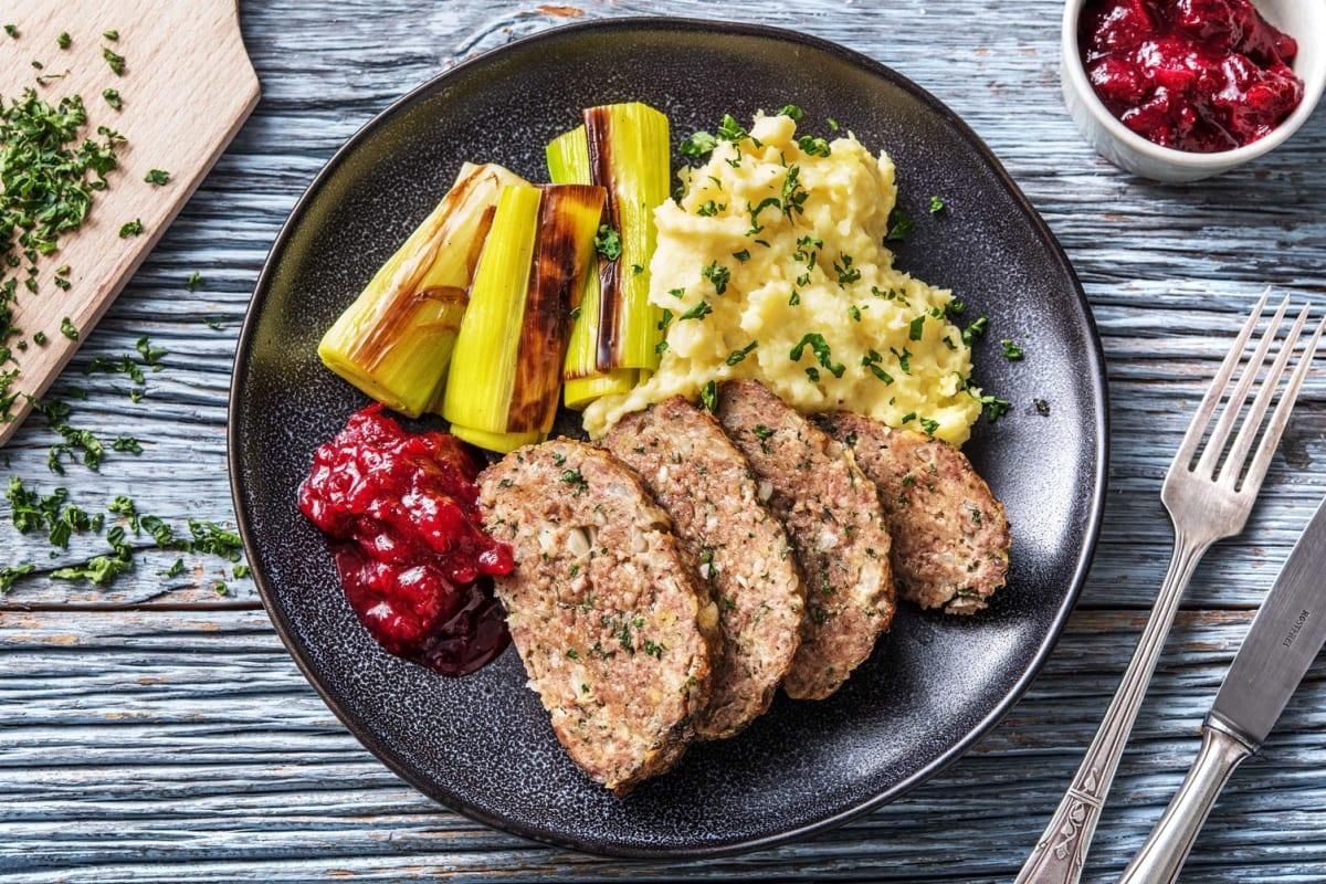 Pain de viande épicé et purée de pommes de terre