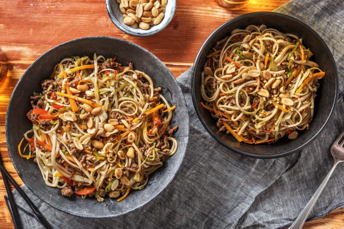 Nouilles à l'asiatique et bœuf haché épicé