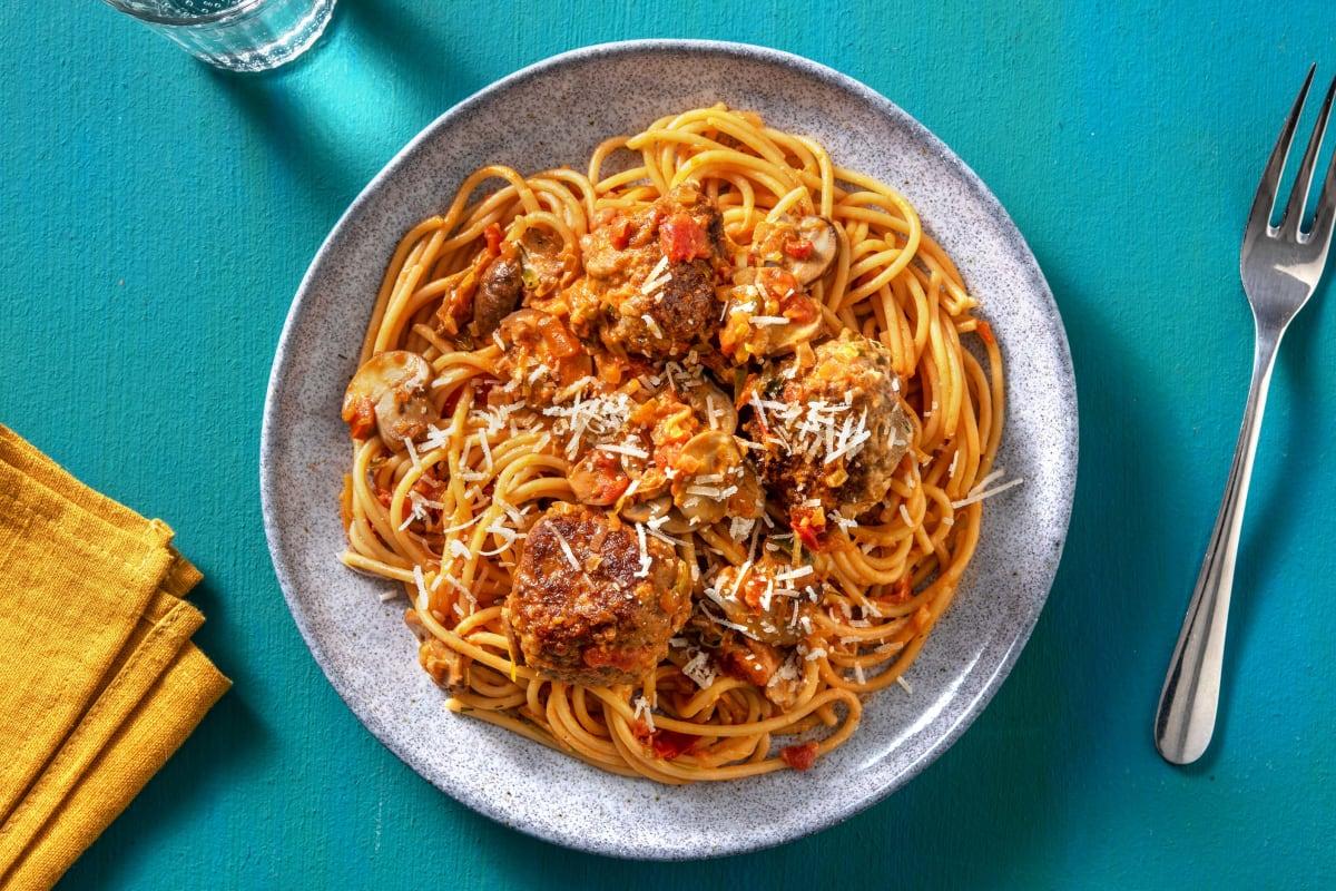 Snelle pasta met gehaktballen