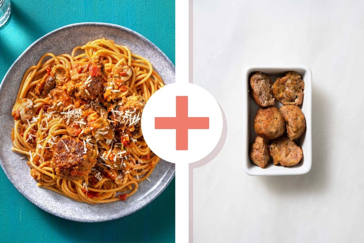 Snelle pasta met dubbele portie gehaktballen