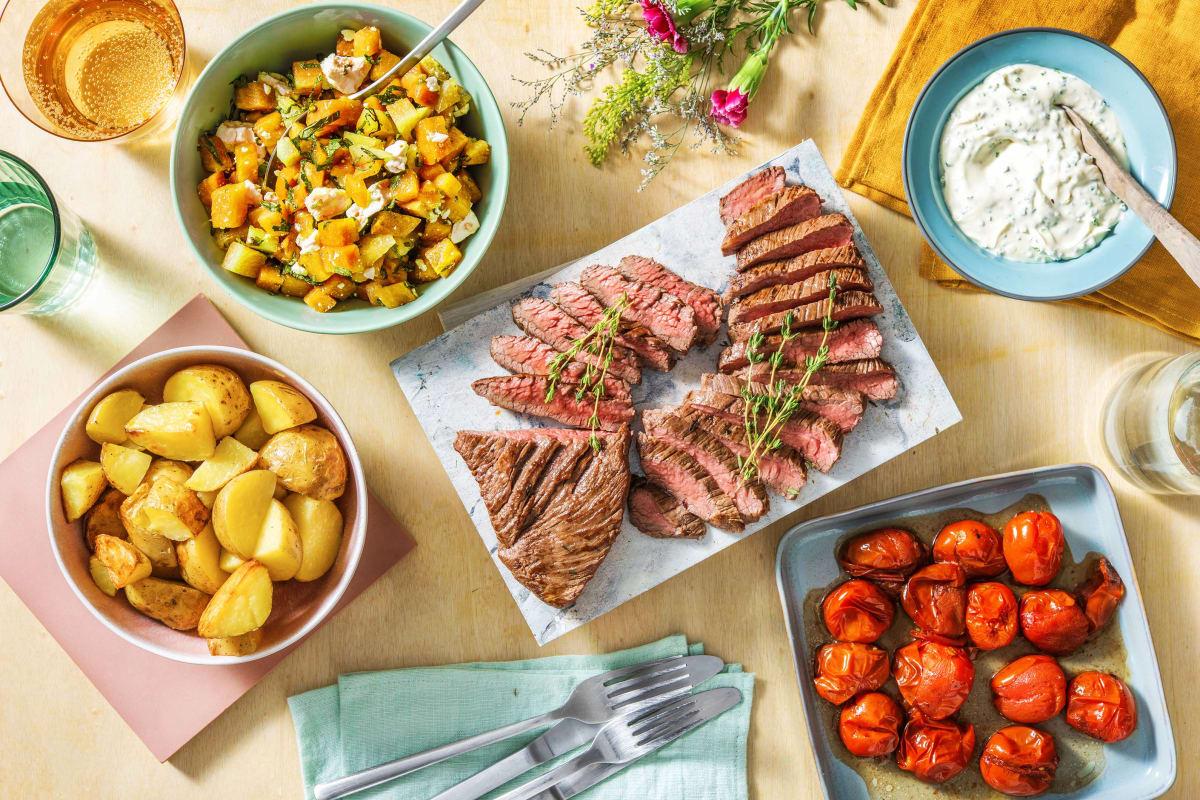 Bavette, pommes de terre en papillote et crème aigre