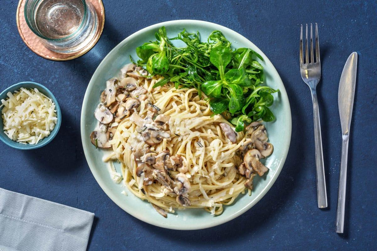 Spaghetti à la crème et à l'huile à la truffe