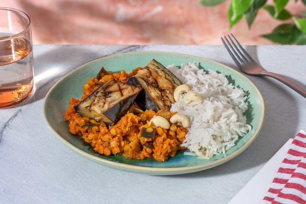 Dahl indien aux lentilles et à l'aubergine cuite lentement
