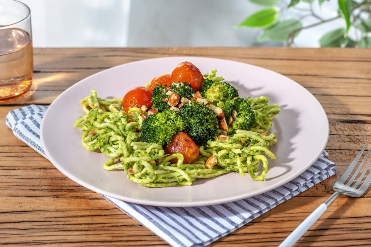 Spaghetti au pesto de brocoli et noix