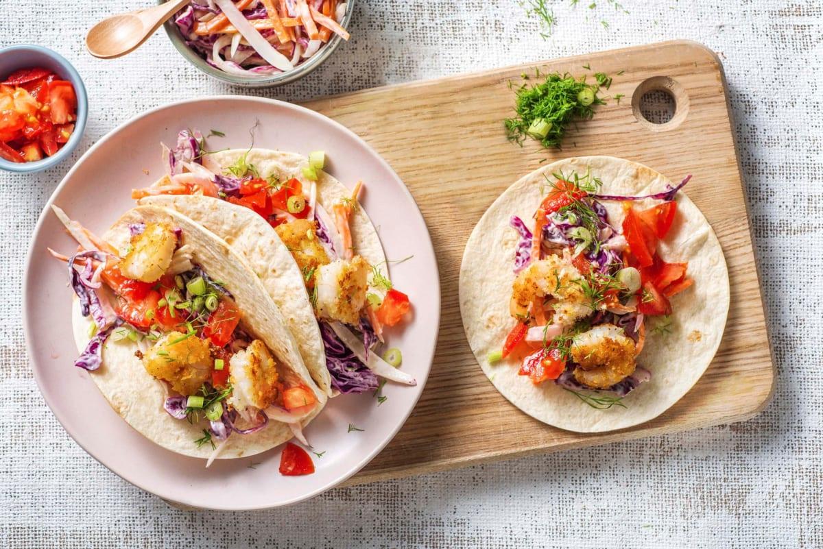 Mini-tortillas aux crevettes croustillantes et au fenouil