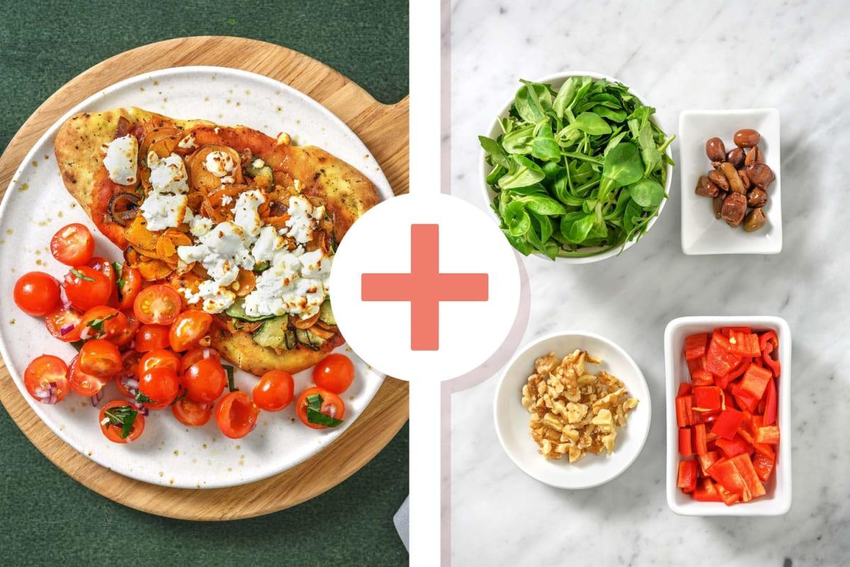 Pizza sur naan au chèvre et aux légumes