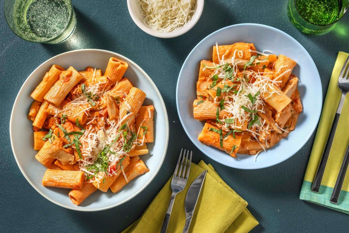 Romige rigatoni met vegetarische kipstukjes