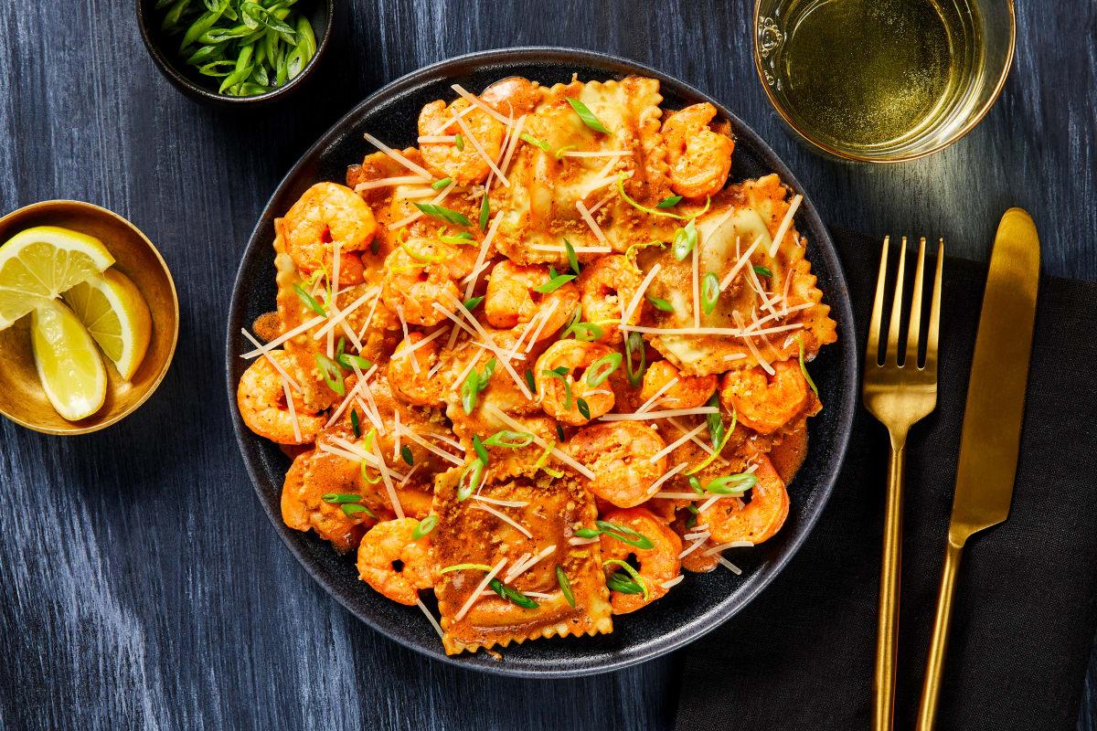 Lobster Stuffed Ravioli & Shrimp