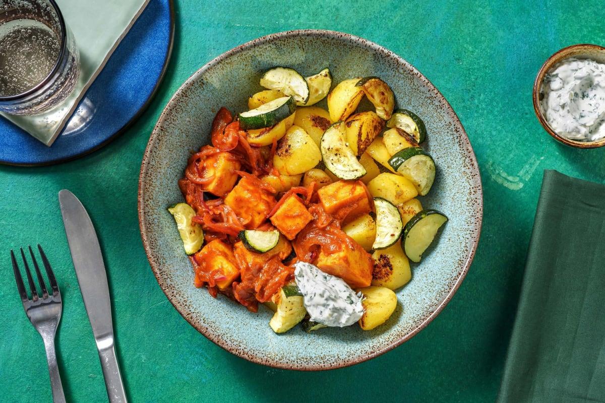 Korma-Curry mit Kofu auf Zucchini-Kartoffel-Gemüse