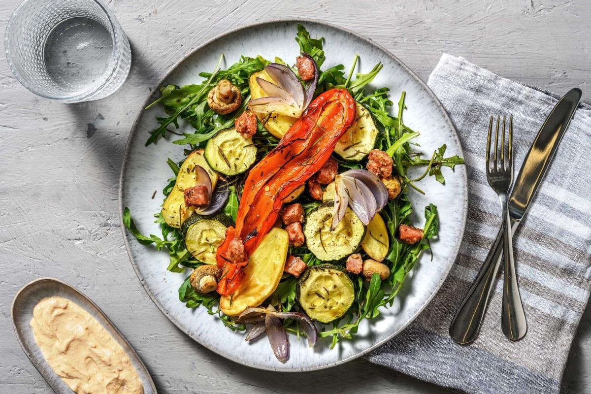 Einfaches Antipasti-Gemüse mit Salsiccia