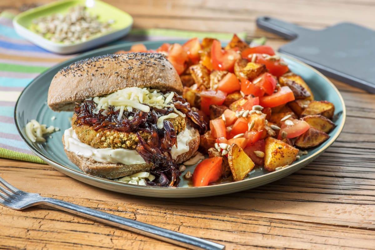 Burger de carotte et courge sur pain aux graines de pavot