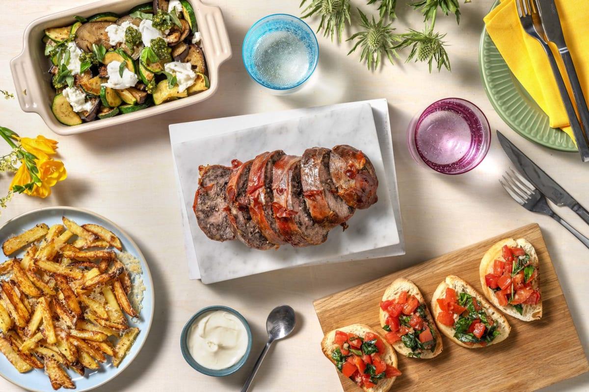 Pain de viande au jambon serrano et à la tapenade d'olives