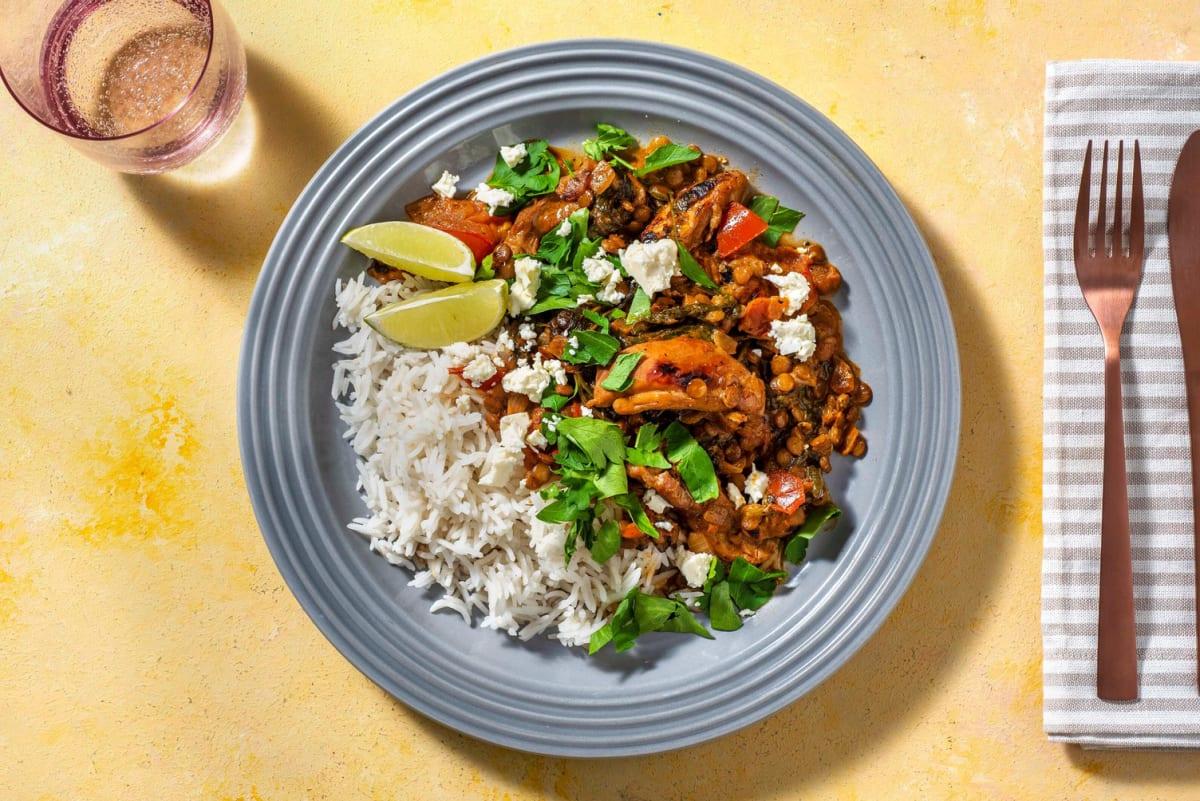 Pittige rode curry met kippendij en witte kaas