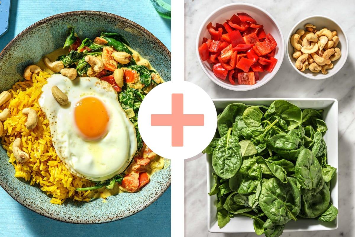 Curry d'épinards à la noix de coco, riz jaune et œuf au plat