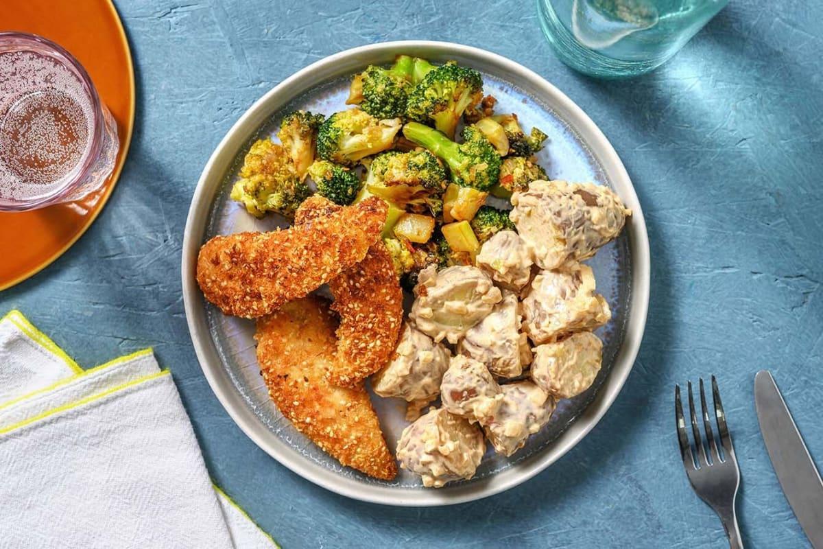 Gepaneerde sesamkip met pittige broccoli