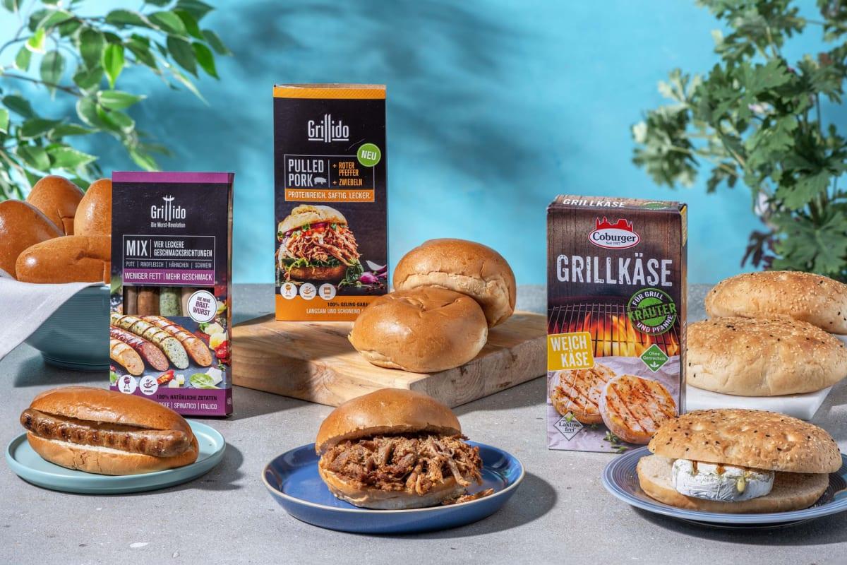 Günstiger im Multi-Paket: Pulled Pork Burger,  Hot Dog Basics & Grilled-Cheese-Paket