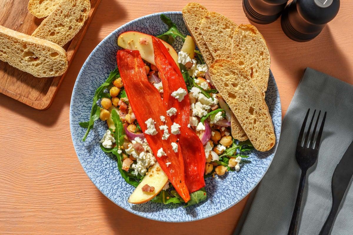 Rucola-Apfel-Salat mit Bacon & Hanfsaat-Dressing