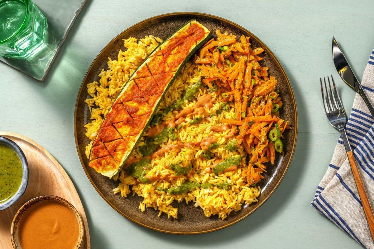 Gebackene Curry-Zucchini mit Thai-Basil-Pesto