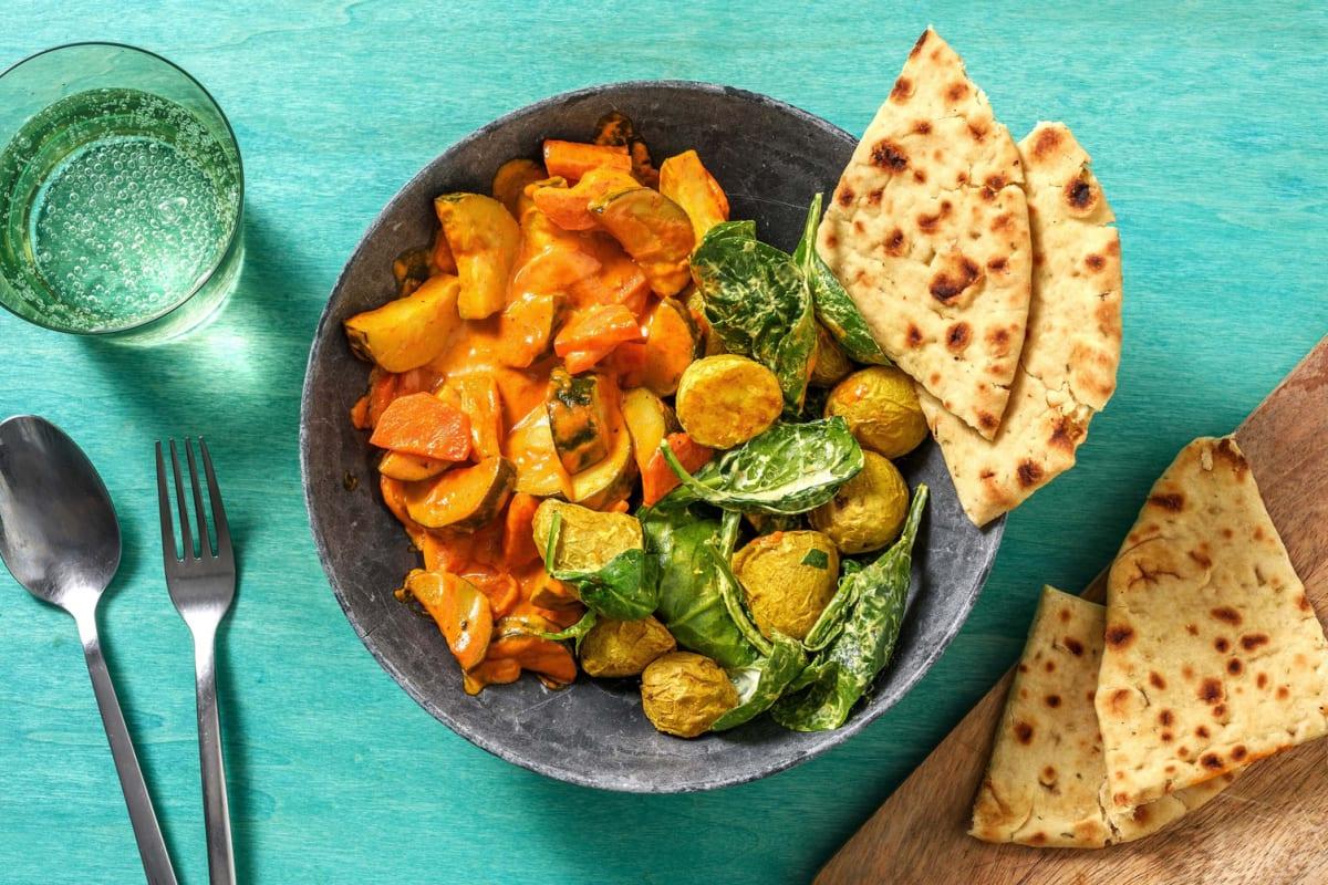 Ofen-Korma-Curry mit Saag-Aloo-Salat