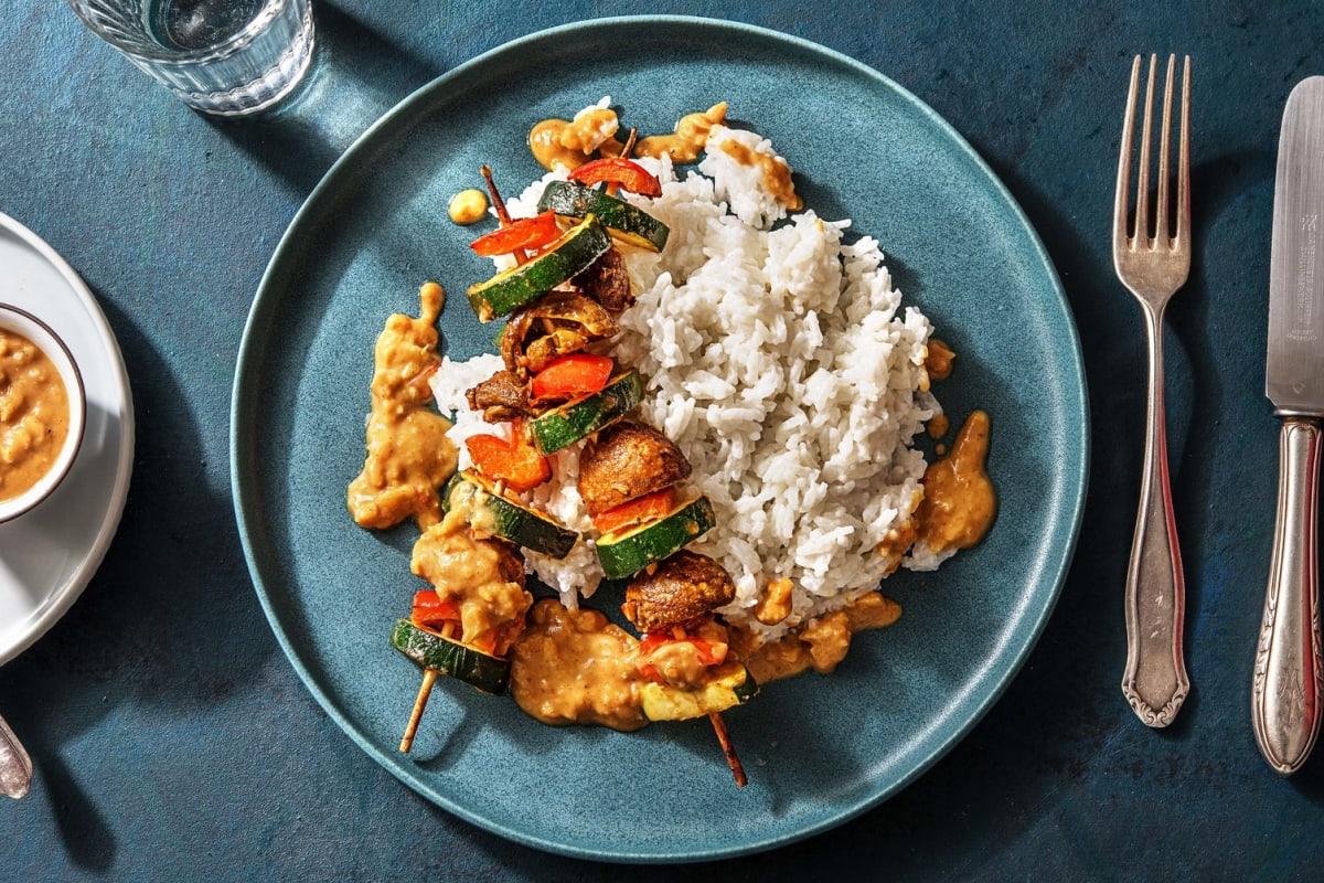Vegane Gemüsespieße mit Satay-Soße