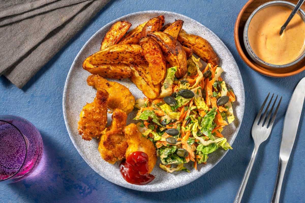 Vegane Wings mit Sriracha-Dip und Karotten-Slaw