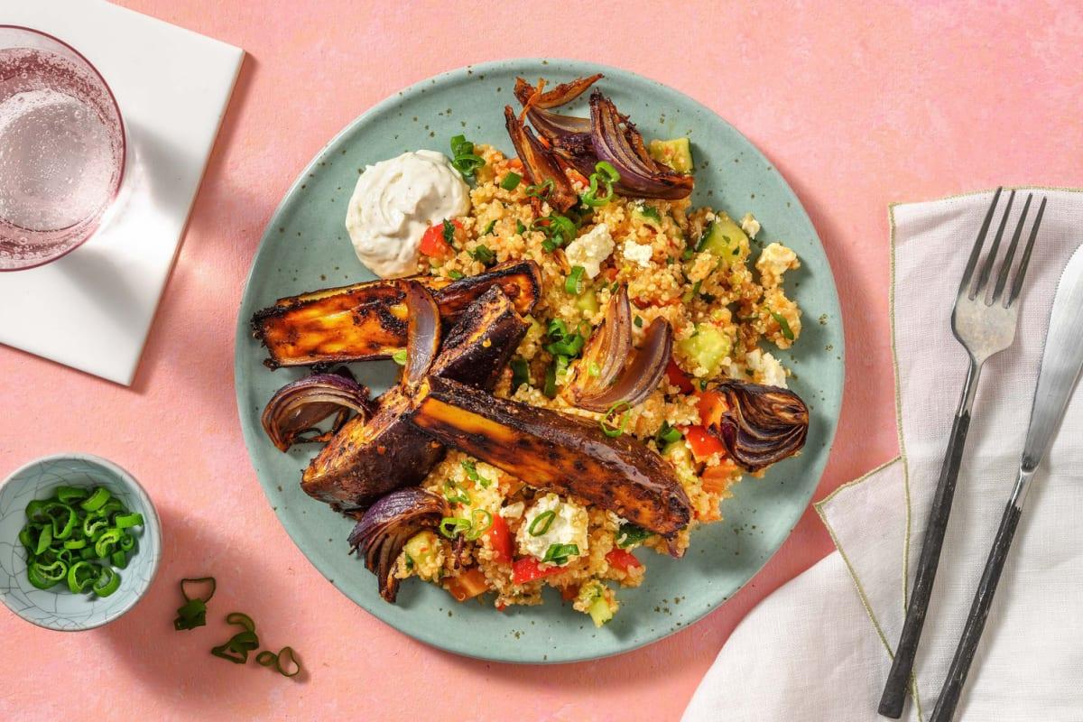 Honig-Harissa-Aubergine auf buntem Quinoa