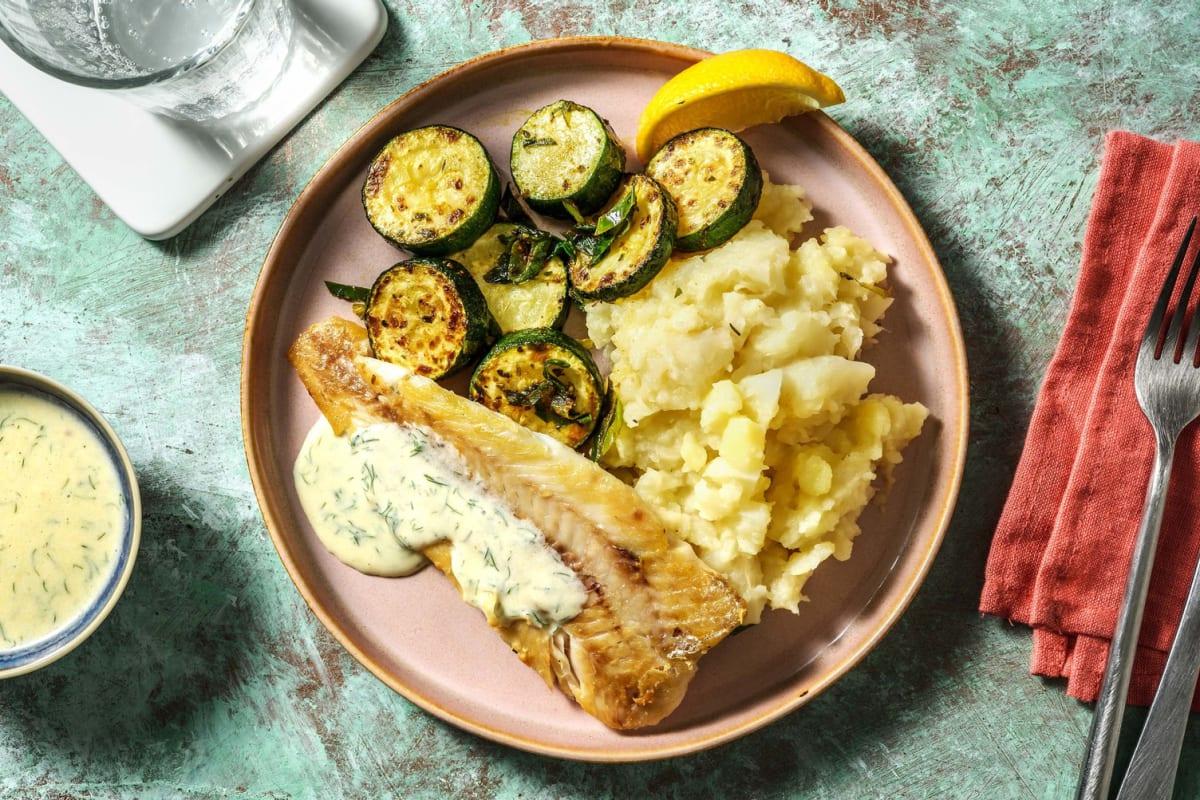 Seehecht mit Selleriepüree und Buttermilchsoße