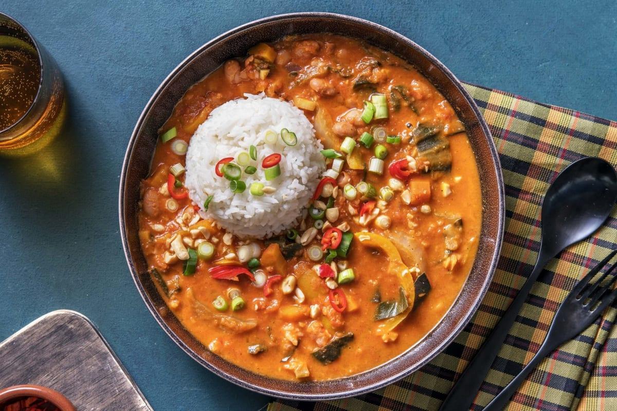 Afrikanischer Erdnusseintopf mit Borlottibohnen