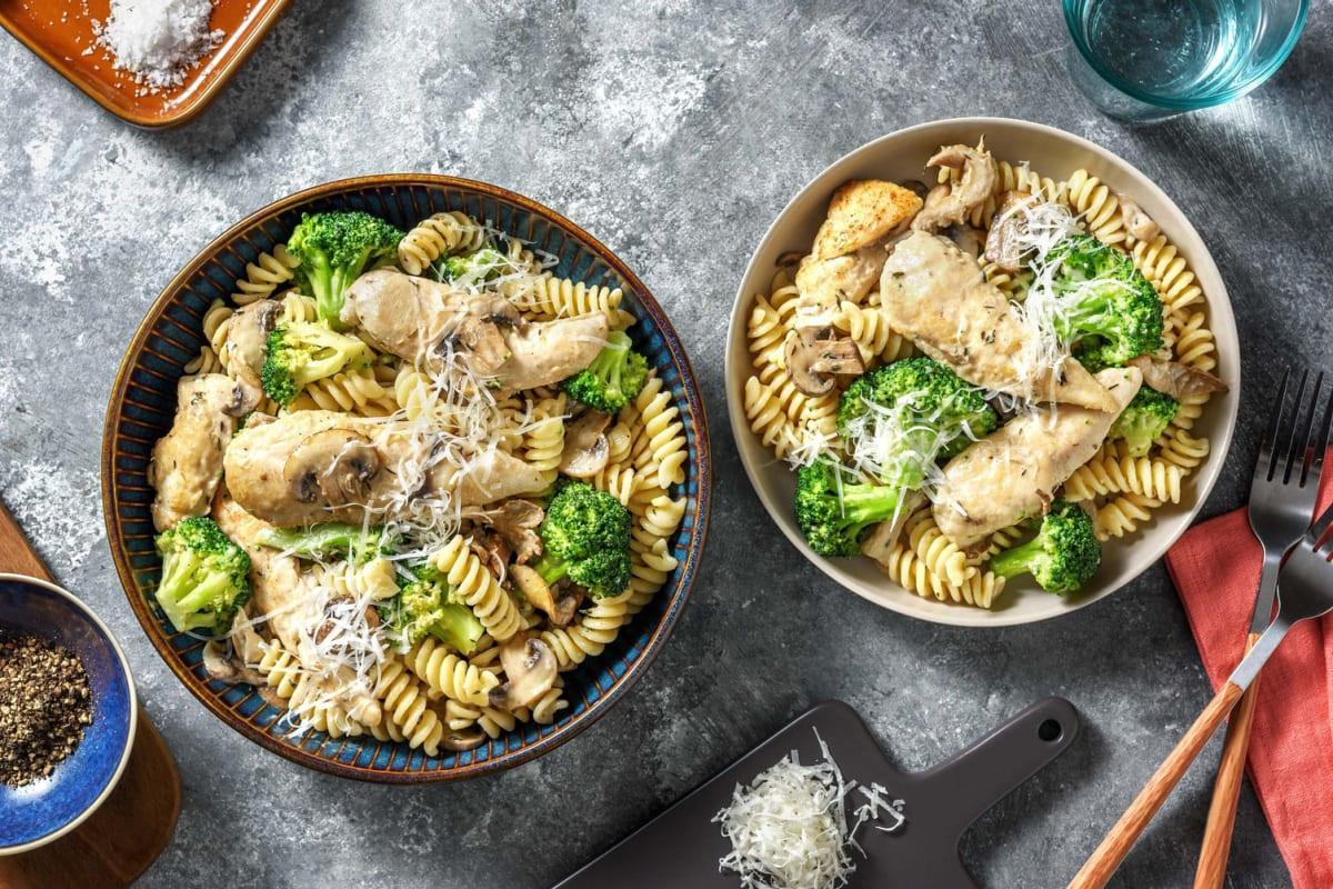 Aiguillettes de poulet, champignons & crème
