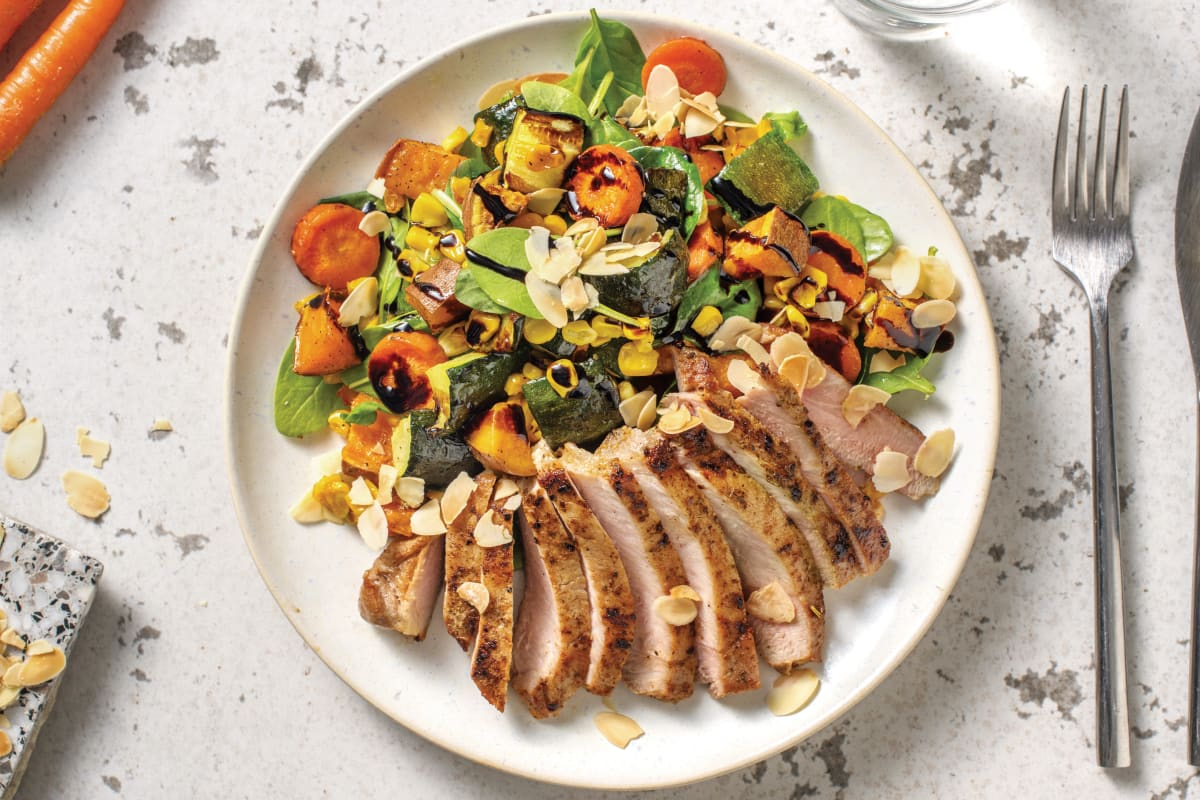 American Spiced Pork Steaks with Roast Veggie & Baby Spinach Medley